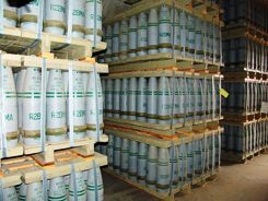 "Photo: Pallets of 155 mm artillery shells containing ""HD"" (distilled sulfur mustard agent) at Pueblo Depot Activity (PUDA) chemical weapons storage facility 