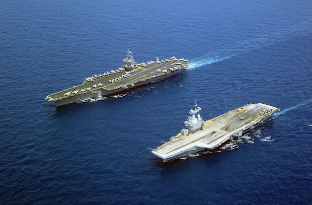 French nuclear-powered aircraft carrier Charles de Gaulle and the American nuclear-powered carrier USS Enterprise