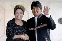 Picture: Brazilian President Rousseff  with Bolivian President Morales, united in denouncing the U.S. | Credit: YaleGlobal