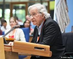 Noam Chomsky addressing Global Media Forum | Credit: Deutsche Welle