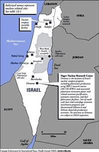 Map of Israeli Nuclear weapons related facilities