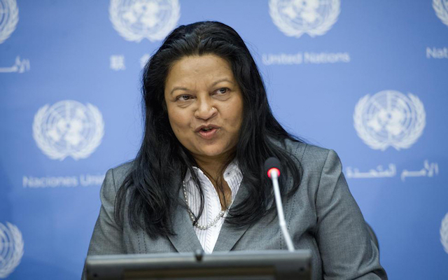 Special Rapporteur on the situation of human rights in Eritrea Sheila B. Keetharuth introducing New UN report detailing litany of human rights violations, 'rule by fear' in Eritrea in June 2015. UN Photo/Amanda Voisard