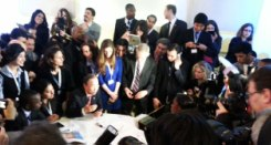 UN Secretary-General Ban Ki-moon with journalists at UNAOC Forum in Vienna Credit: UNAOC