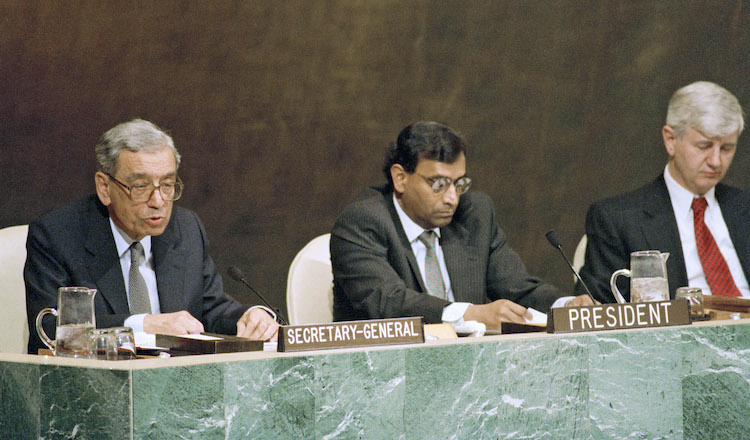 Photo: Review and Extension Conference of the Treaty on Non-Proliferation of Nuclear Weapons Opens at UN Headquarters in New York. Seated on the podium from left to right are: Secretary-General Boutros Boutros-Ghali; Ambassador Jayantha Dhanapala (Sri Lanka), President of the Conference; Prvoslav Davinic, Secretary-General of the Conference. 17 April 1995. Photo # 68537. Credit: UN Photo/Evan Schneider