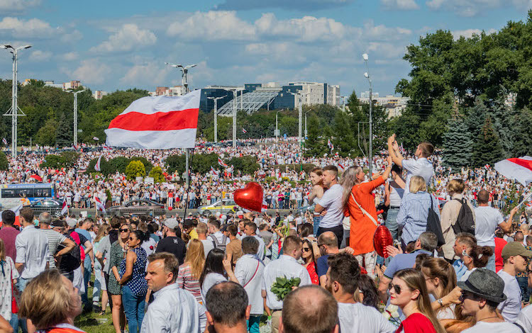 Photo: Protest rally against President Lukashenko, 16 August. Minsk, Belarus. CC BY-SA 3.0