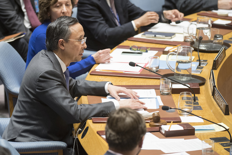 Photo: Kairat Abdrakhmanov, Minister of Foreign Affairs of Kazakhstan and President of the Security Council for the month of January 2018, addresses the Security Council meeting on Maintenance of International Peace and Security. 18 January 2018. United Nations, New York. UN Photo/Eskinder Debebe.