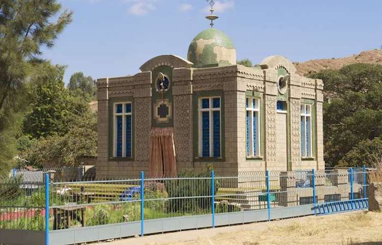 Photo: The Church of Our Lady Mary of Zion (Maryam Ts'iyon Church) in Aksum. Credit: Britannica.
