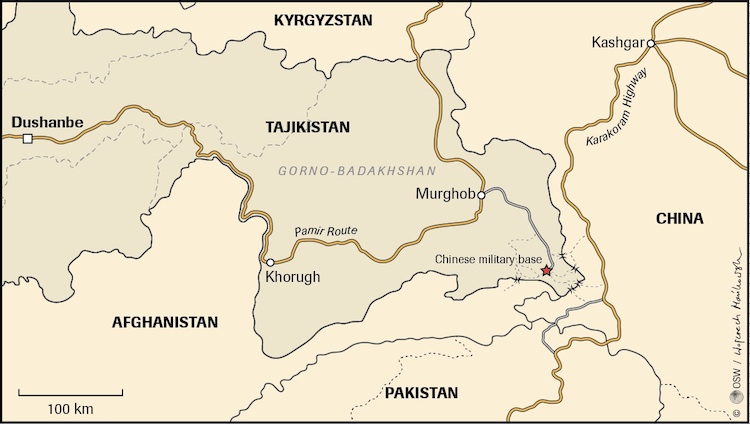 Image: Map – China's military base on the Chinese-Afghan-Tajik frontier. Credit: Centre for Eastern Studies.