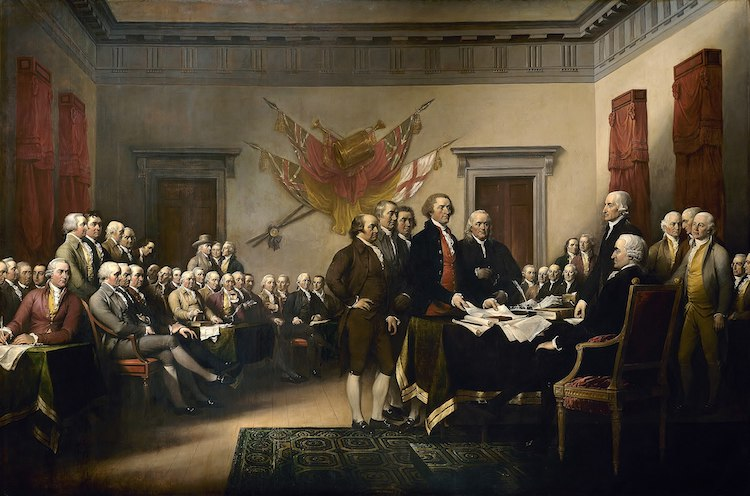 Photo: John Trumbull's painting, Declaration of Independence, Amexit, depicting the five-man drafting committee of the Declaration of Independence presenting their work to the Congress. The painting can be found on the back of the U.S. $2 bill. The original hangs in the US Capitol rotunda. Source: Wikipedia.