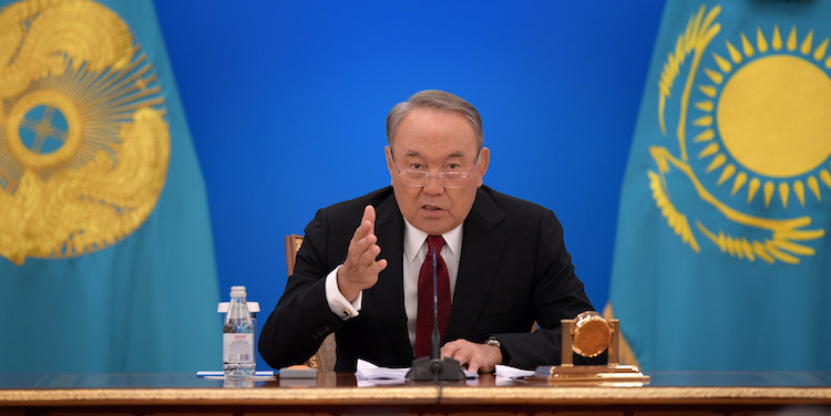 Photo: Kazakh President Nazarbayev delivering State of the Union address on October 5, 2018.