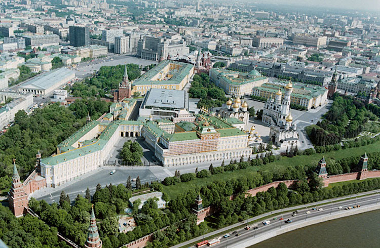Photo: Moscow, Kremlin. Bird's Eye View from the southwest. Source: TASS. CC BY 4.0