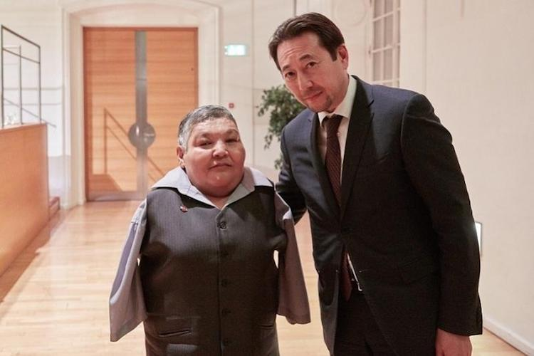 Photo: Karipbek Kuyukov with Kazakh Ambassador to Austria.