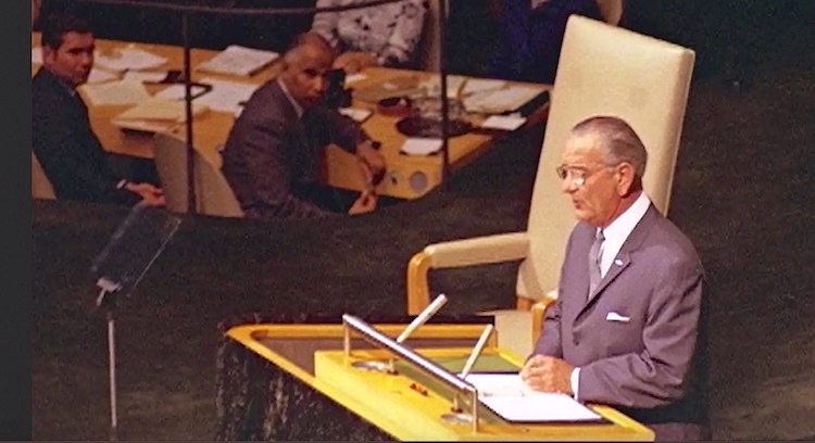 Photo: US President Lyndon Johnson addresses the UN General Assembly during the signing of the Nuclear Non-Proliferation Treaty, 1968. Eventually, 188 countries signed the treaty, which was made into law in 1970. Photo credit: Screen capture from the documentary 'Good Thinking, Those Who've Tried To Halt Nuclear Weapons'.