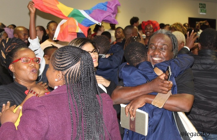 Photo: Botswanans celebrate the high court's decision decriminalizing homosexuality. Credit: LEGABIBO (Lesbians, Gays & Bisexuals of Botswana) via Facebook.