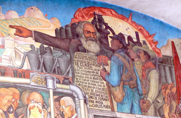 Image: Mural by Diego Rivera showing the Karl Marx. In the National Palace in Mexico City. CC BY-SA 3.0
