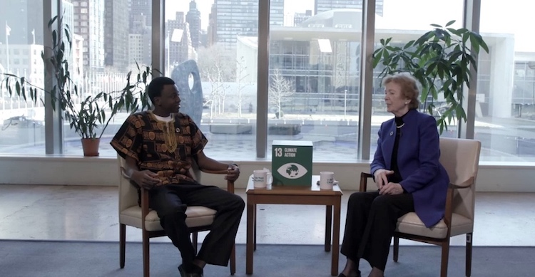 Photo: Mary Robinson and Deon Shekuza. Credit: GlobalGoalsUN