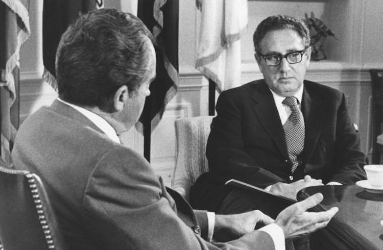 Photo: President Richard Nixon met with Secretary of State Henry Kissinger on October 8, 1973, in Washington in the Oval Office of the White House and said that the U.S. intended to make every effort to bring an end to the fighting in the Middle East. Nixon did not detail the Administration's position to be put forward in the UN Security Council on that day but said that the US would not make a grandstand play. (UPI Photo/Files)