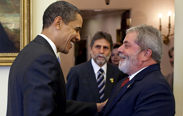 "Photo: U.S. President Barack Obama said that the then president of Brazil, Luiz Inacio ""Lula"" da Silva, was ""the most popular president on earth"". This picture shows Obama greeting him in the Oval Office in March 2009. Credit: White House."