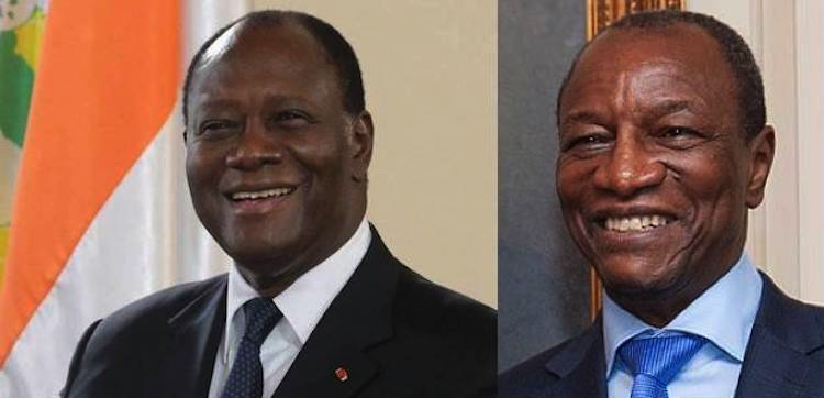Collage of pictures of President Alassane Ouattara of Ivory Coast and President Alpha Conde of Guinea from Wikimedia Commons.