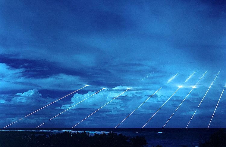 Photo: Test of the LG-118A Peacekeeper missile, each one of which could carry 10 independently targeted nuclear warheads along trajectories outside of the Earth's atmosphere. Source: Wikimedia Commons.