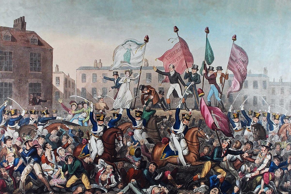 Image: A coloured engraving that depicts the Peterloo Massacre (military suppression of a demonstration in Manchester, England by cavalry charge on August 16, 1819 with loss of life) in Manchester, England. Richard Carlile, Manchester Libraries. Wikimedia Commons.