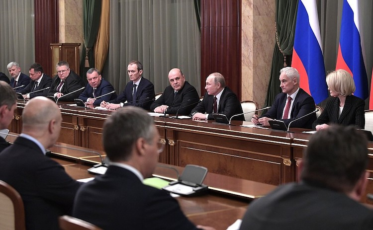 Photo: Putin and the newly appointed Prime Minister Mikhail Mishustin meeting with members of Mishustin's Cabinet on 21 January 2020. CC BY 4.0