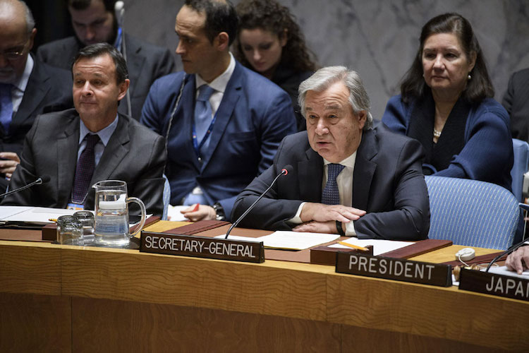 Photo: Secretary-General Antonio Guterres addresses the Security Council on non-proliferation / DPRK. UN Photo/Manuel Elias