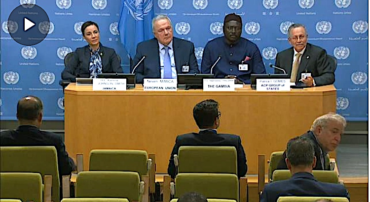 Photo: Screenshot of joint ACP-EU press conference on 23 September at the UN. From left to right: Kamina Johnson Smith, Minister of Foreign Affairs and Foreign Trade of Jamaica; Neven Mimica, European Union Commissioner for International Cooperation and Development; Mamadou Tangara, Minister of Foreign Affairs of the Gambia; Patrick I. Gomes, Secretary General of the ACP Group of States. Source: UN Web TV