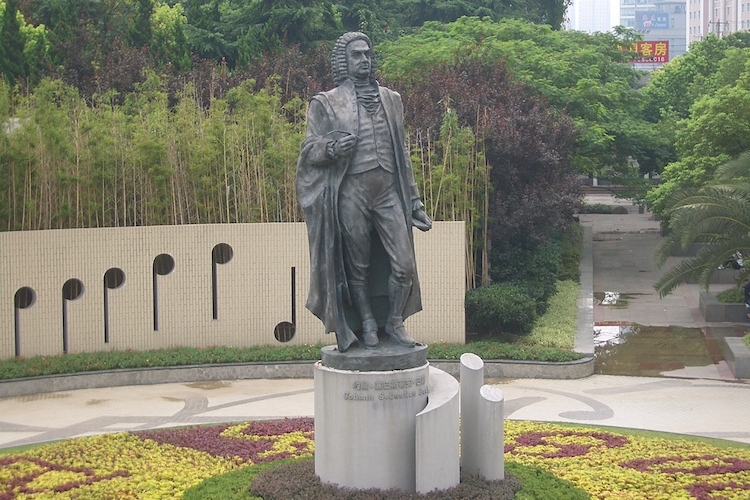 Photo: Although the German composer J.S. Bach never visited China in his lifetime, his statue now welcomes visitors entering Shanghai from the city's main railway station. CC BY-SA 3.0