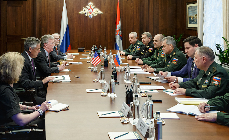 Photo: John R. Bolton holds a meeting with Russian Defense Minister Sergei Shoigu in Moscow on 23 October 2018. CC BY 4.0
