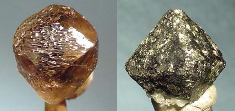 Collage of photos of Sierra Leone's octahedral diamond crystal and chromite – from Wikimedia Commons.