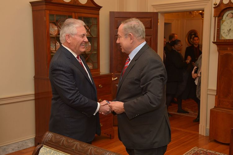 "Photo: U.S. Secretary of State Rex Tillerson (here shaking hands with Israeli Prime Minister Benjamin Netanyahu before their working dinner at the U.S. Department of State in Washington, D.C., on February 14, 2017) believes that ""Iran seeks dominance in the Middle East and the destruction of our ally, Israel"". [State Department photo/ Public Domain]"