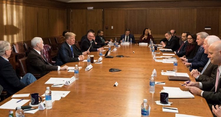 Photo: President Donald Trump joined by Vice President Mike Pence meets with members of the Republican Legislative Leadership on January 5 at Camp David. Credit: Official White House Photo by Joyce N. Boghosian.