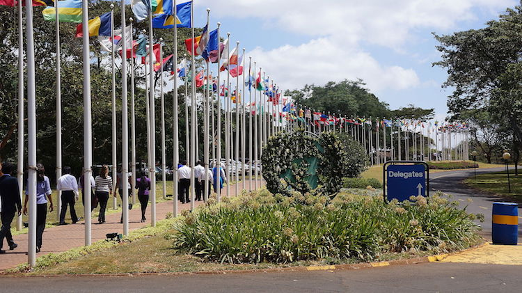 Photo: The walkway of the UN Headquarters in Nairobi. Credit: Wikimedia Commons.