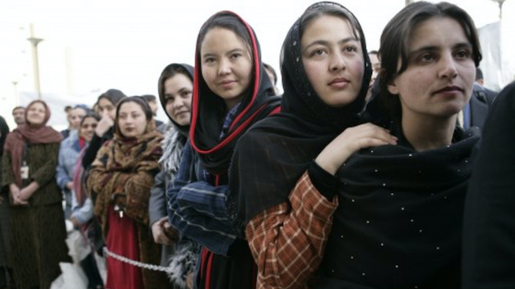 Photo: Women of Afghanistan stand outside the U.S. Embassy in Kabul. Credit: Eric Draper | The White House.