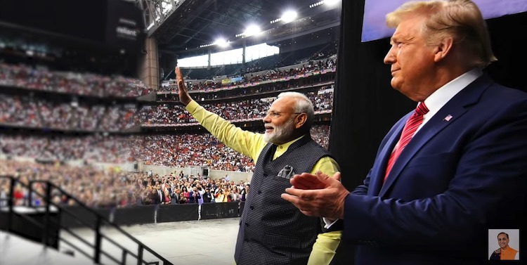 Photo: President Trump's visit to India on end of February 2020 came exactly a year after Hindu-Muslim tensions in India were stoked by mysterious external parties with the near-war between nuclear armed rivals, India and Pakistan, staged in Pulwama District, Jammu and Kashmir in February 2019, just before General Elections in India. Source: YouTube.
