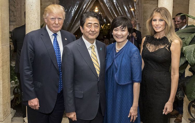 Photo: President Donald Trump and First Lady Melania Trump, are joined by Japanese Prime Minister Shinzō Abe, and his wife, Mrs. Akie Abe, as they pose for photos Saturday, Feb. 11, 2017, at Mar-a-Lago in Palm Beach, FL. (Official White House Photo by Shealah Craighead)