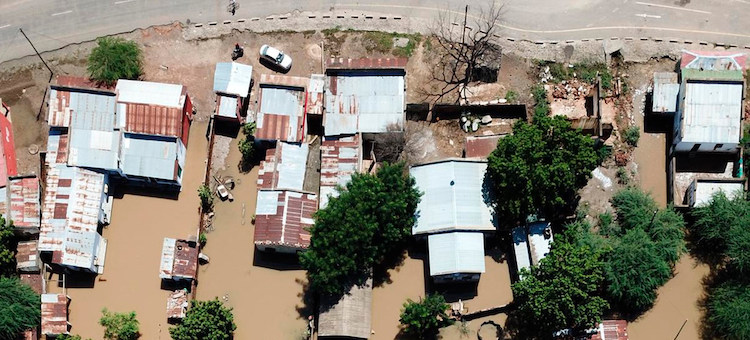 Photo: Aerial view of areas in Mozambique affected by cyclone Idai. Credit: WFP.