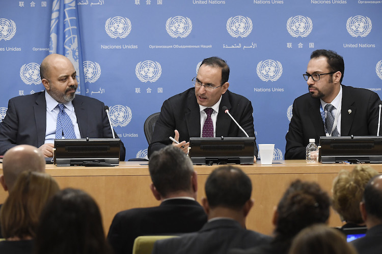 Photo: Mansour Al-Otaibi (centre), Permanent Representative of the State of Kuwait to the United Nations and President of the Security Council for the month of February, briefs journalists on the Council's programme of work for the month. 01 February 2018. United Nations, New York. UN Photo/Evan Schneider.