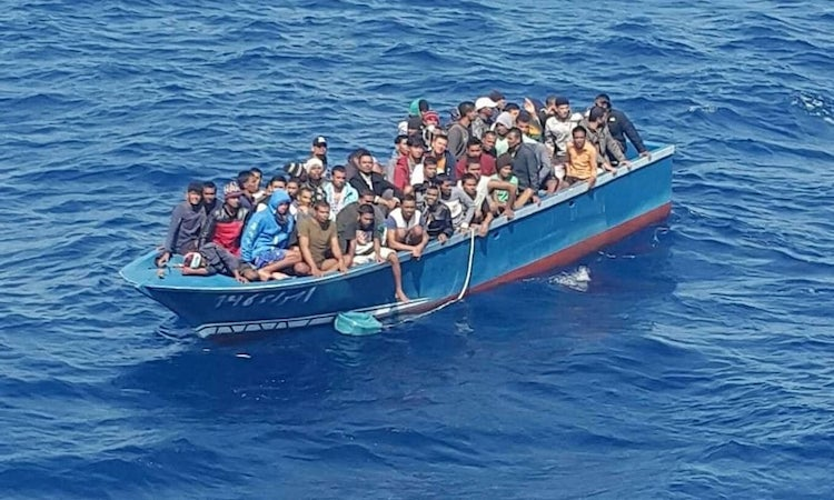 Photo: The Bangladeshi migrants were part of a 75-strong group stuck onboard a tugboat for weeks before being taken to Tunisia. Photograph: Courtesy of Forum Tunisien pour les Droits Economiques et Sociaux. Source: The Guardian.