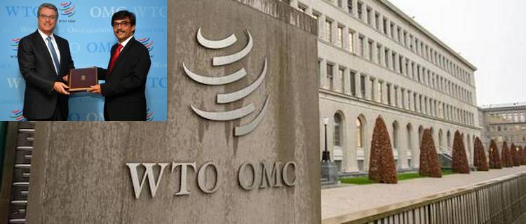Photo: Collage of Indian Ambassador Brajendra Navnit with WTO Director Roberto Azevedo and front of the WTO.
