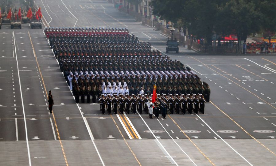 Photo: The guards of honor formation takes part in a military parade during the celebrations marking the 70th anniversary of the founding of the People's Republic of China (PRC) at the Tian'anmen Square in Beijing, capital of China, Oct. 1, 2019. (Xinhua/Cao Can)