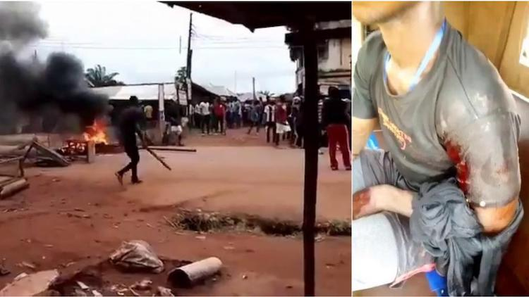 Photo: At least two officers and up to 21 civilians were killed in a clash between Nigerian security forces and members of the separatist group the Indigenous People of Biafra (IPOB) in the city of Enugu, Nigeria on August 23. (Left) A video showing a civilian carrying a stick in defence as gunshots are heard in the background. (Right) A member of the Indigenous People of Biafra (IPOB) with a gunshot wound after the clash. (Source: Twitter.)