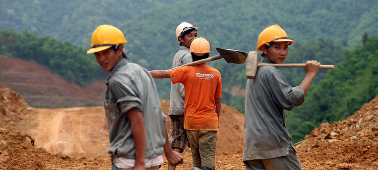Photo: Construction workers at the Trung Son Hydropower project construction site, Vietnam. Credit: World Bank/Mai Ky