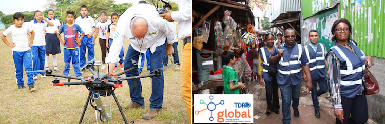 Photo: Collage of the drone releasing sterile male mosquitoes (left) and TDR global scientists team Credit: WHO