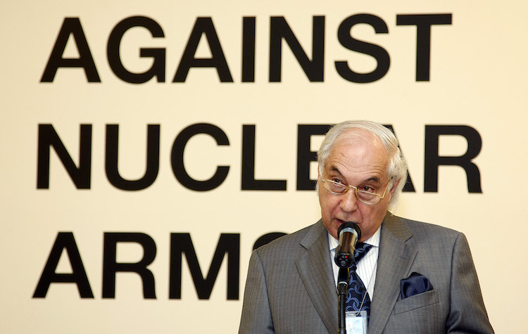 "Photo: On 10 August 2009 Sergio Duarte, Under-Secretary-General for Disarmament Affairs, speaks at the opening of the exhibition ""Against Nuclear Arms"" at the UN Headquarters in New York. The exhibition portrayed the destruction caused by the A-bomb explosions in Hiroshima and Nagasaki, Japan, as well as decades of nuclear arms testing in Kazakhstan. Credit: UN Photo/Paulo Filgueiras"