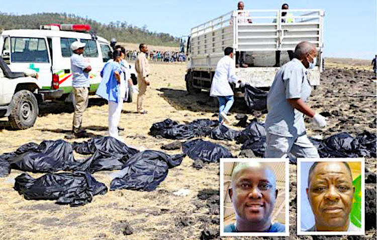 Photo: Scene of the Ethiopian plane crash with pictures of Professor Adesanmi (bottom left) and former Nigerian diplomat Abiodun Oluremi Bashua. Source: Global Information Network.