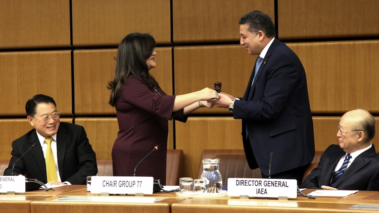 Ecuador's representative Verónica Gomez-Ricaurate handing over G-77 Vienna Chapter presidency to Ambassador Omar Youssef, Permanent Representative of the Arab Republic of Egypt. UNIDO and IAEA DGs look on. Credit: UNIDO