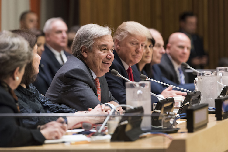 Photo: Secretary-General António Guterres (centre left) during the high-level meeting on United Nations reform convened by the United States. On his left is United States President Donald Trump. 18 September 2017. United Nations, New York. Credit: UN Photo/Mark Garten.