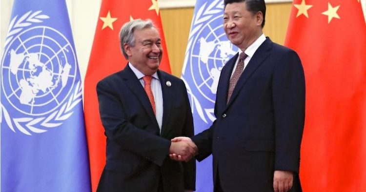 Photo: UN Secretary-General Guterres shakes hands with Chinese President XI while UN censors 100 rights groups on Chinese abuses, blocks publication of joint appeal. Source: UN Watch.